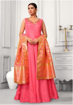 Pink Color Designer Silk And Banarasi Fabric Gown
