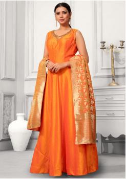 Orange Color Designer Silk And Banarasi Fabric Gown