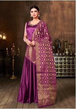Purple Color Designer Silk Gown