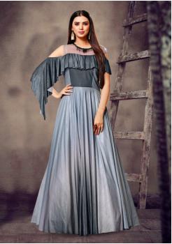 Grey Color Designer Malai Coating Gown
