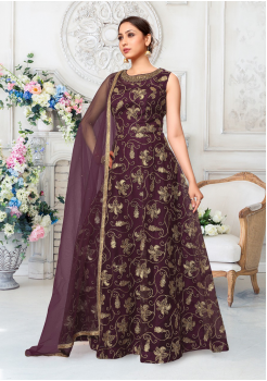 Purple Color Designer Net Gown