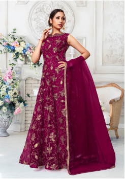 Dark Pink Color Designer Net Gown