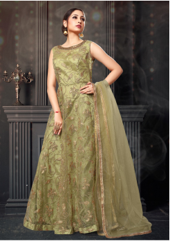 Light Green Color Designer Net Gown