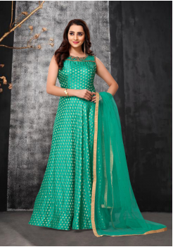 Green Color Designer Net Gown