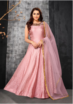 Pink Color Designer Net Gown