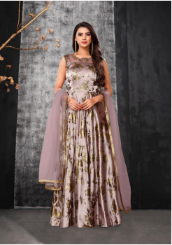 Rosy Brown Color Designer Silk And Net Fabric Gown