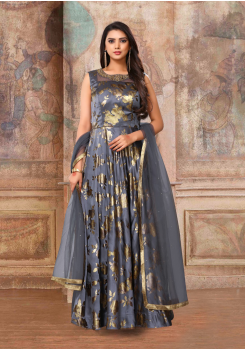 Light Grey Color Designer Silk And Net Fabric Gown