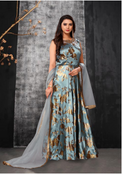 Light Blue Color Designer Silk And Net Fabric Gown