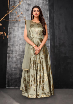 Light Green Color Designer Silk And Net Fabric Gown