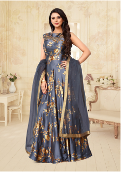 Navy Blue Color Designer Silk And Net Fabric Gown