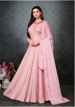 Pink Color Designer Chinnon Chiffon And Net Fabric Gown