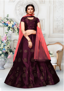 Pink With Dark Purple Color Designer Silk And Net Lehenga