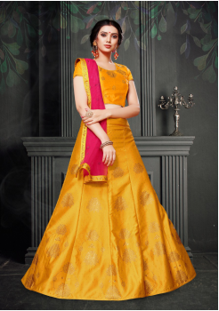 Dark Pink With Yellow Color Designer Silk And Net Lehenga