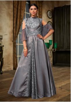Grey Color Designer Velvet Brasoo And Japan Crepe Fabric Gown