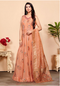 Peach Color Designer Silk And Viscos Fabric Gown