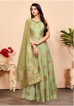 Light Green Color Designer Silk And Viscos Fabric Gown