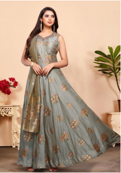 Grey Color Designer Silk And Viscos Fabric Gown