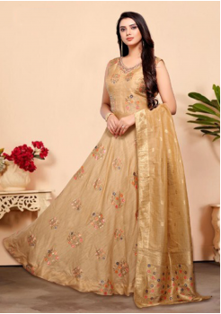 Light Beige Color Designer Silk And Viscos Fabric Gown