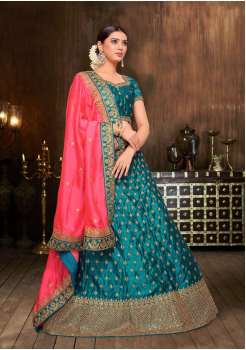 Dark Pink With Blue Color Designer Silk And Chiffon Lehenga