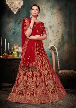 Dark Red Color Designer Velvet And Net Lehenga