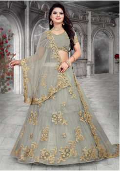 Grey Color Designer Net Lehenga