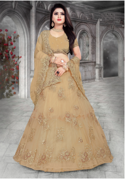 Light Beige Color Designer Net Lehenga