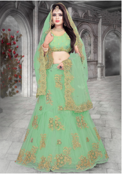 Light Green Color Designer Net Lehenga