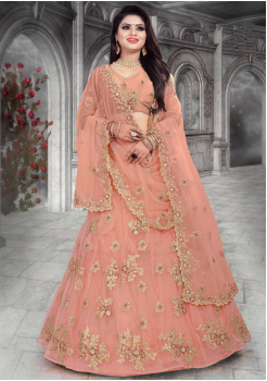 Light Peach Color Designer Net Lehenga