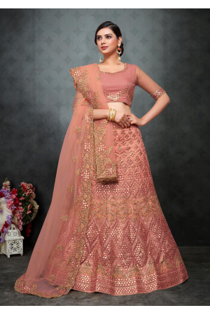 Peach Color Designer Net Lehenga