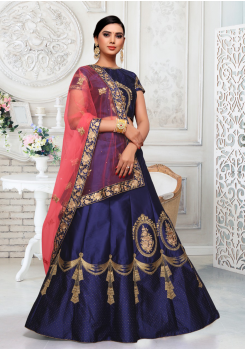 Pink With Dark Blue Color Designer Silk And Net Lehenga