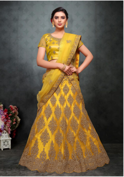Yellow Color Designer Net Lehenga