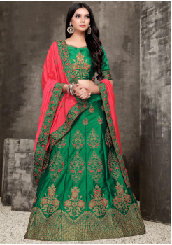 Green With Pink Color Designer Silk And Chiffon Lehenga