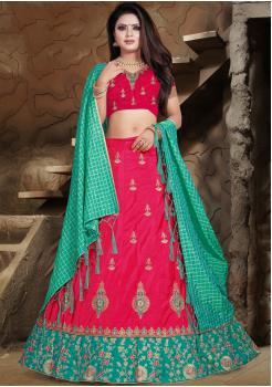 Light Green With Dark Pink Color Designer Silk Lehenga