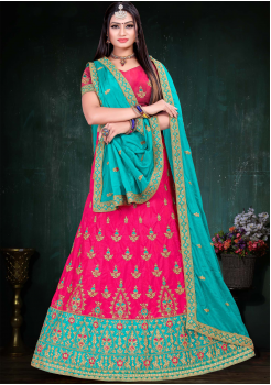 Light Blue With Pink Color Designer Silk And Chinnon Chiffon Fabric Lehenga