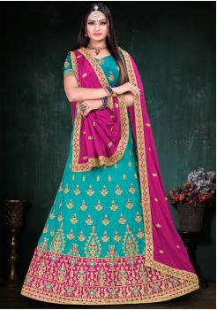Dark Pink With Light Blue Color Designer Silk And Chinnon Chiffon Fabric Lehenga