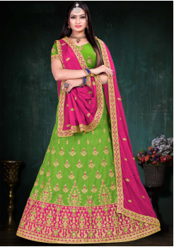 Dark Pink With Parrot Green Color Designer Silk And Chinnon Chiffon Fabric Lehenga