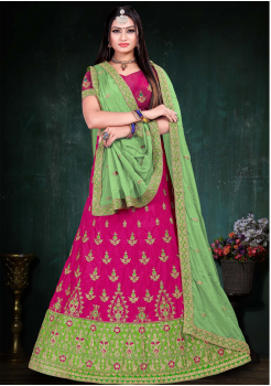 Light Green With Royal Red Color Designer Silk And Chinnon Chiffon Fabric Lehenga