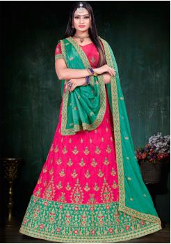 Green With Dark Pink Color Designer Silk And Chinnon Chiffon Fabric Lehenga