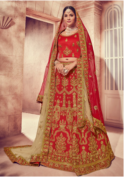Strong Red Color Designer Silk Lehenga