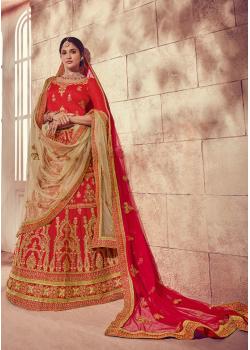 Strong Red Color Designer Silk Lehenga