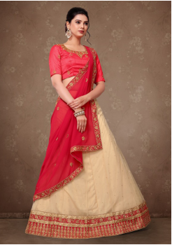 Beige With Red Color Designer Lehenga
