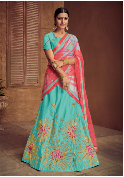 Middle Blue Green With Pink Color Designer Silk Lehenga