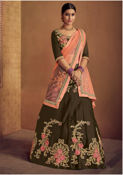 Mehandi Green With Pink Color Designer Silk Lehenga