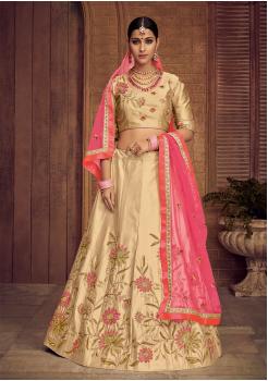 Gold With Pink Color Designer Silk Lehenga