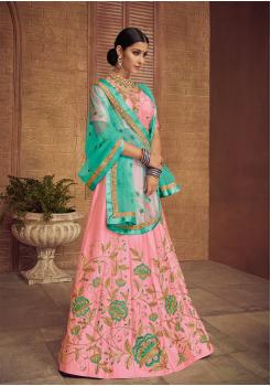 Light Pink With Cyan Color Designer Silk Lehenga