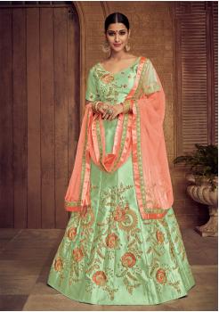 Green With Pink Color Designer Silk Lehenga