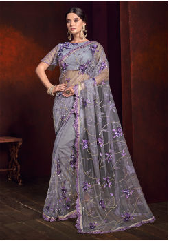 Grey With Blue Color Pure Satin Designer Saree