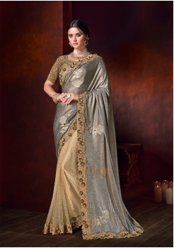 Grey With Gold Color Pure Satin Designer Saree