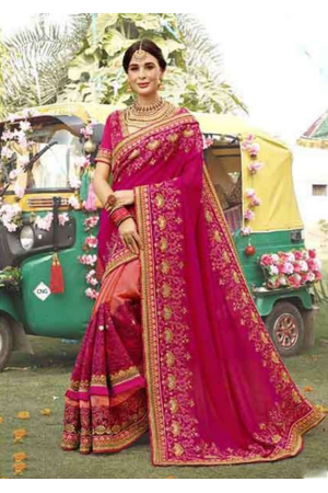 Rose With Pink Color Georgette Designer Saree
