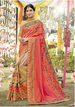 Peach With Beige Color Georgette Designer Saree